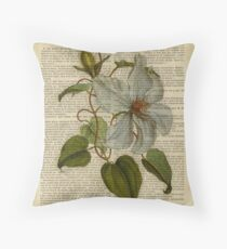 Botanical print, on old book page - flowers- White magnolia Throw Pillow