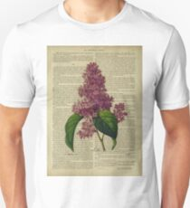 Botanical print, on old book page - flowers- Lilac T-Shirt