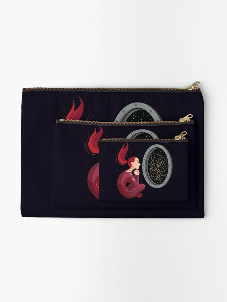 Alternate view of Quiet Time in Space Zipper Pouch