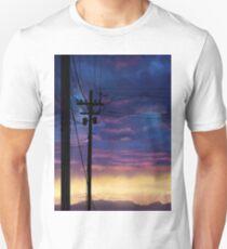 purple sky telephone wires T-Shirt