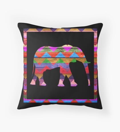 Elephant Chevron Pattern on Wood Throw Pillow