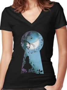 Alice - Through the Keyhole Women's Fitted V-Neck T-Shirt