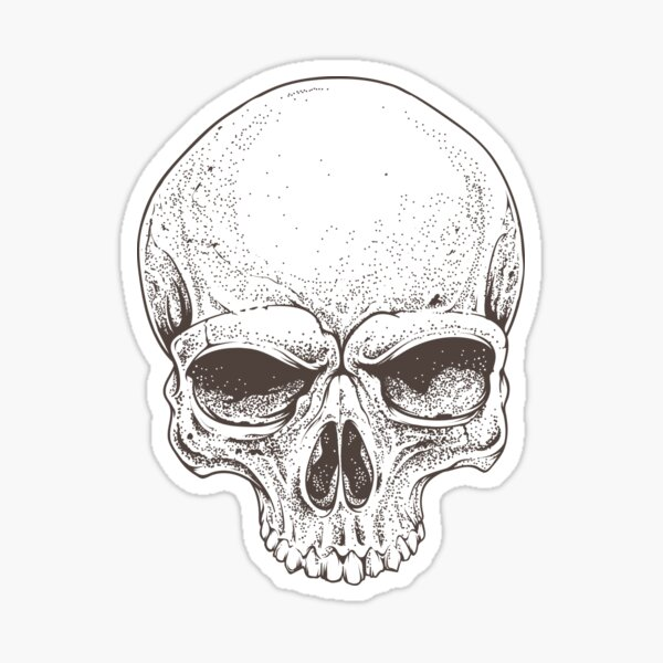 Realistic skull illustration in black & white Sticker