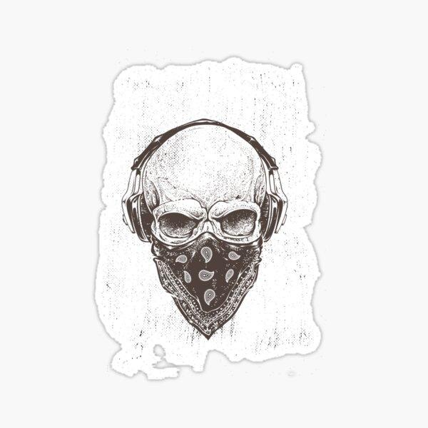 Rock 'n' Roll Loving Skull Sticker