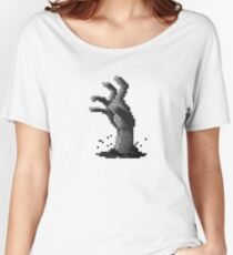 Zombie Grasp Pixels Black and White Women's Relaxed Fit T-Shirt
