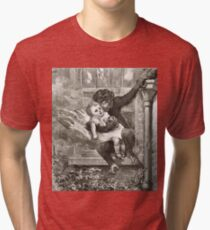 Monkey rescuing a child from a fire Tri-blend T-Shirt