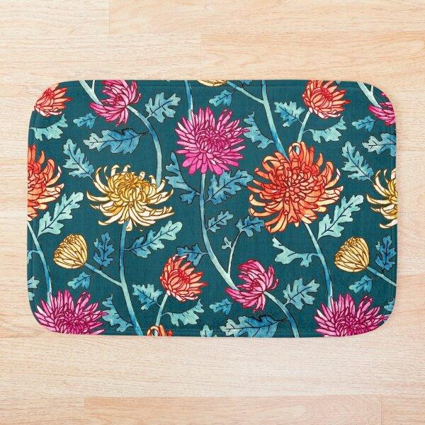 Chrysanthemum Watercolor & Pen Pattern - Navy Bath Mat