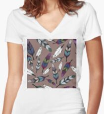 Colorful tribal feathers print. Vector illustration Women's Fitted V-Neck T-Shirt