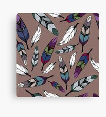 Colorful tribal feathers print. Vector illustration Canvas Print