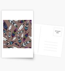 Colorful tribal feathers print. Vector illustration Postcards