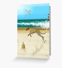 Brindle on the Beach Greeting Card
