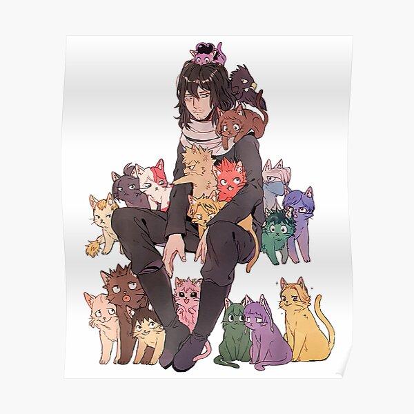 Academia Mein Held Todoroki Niedlich Mit Katze Poster