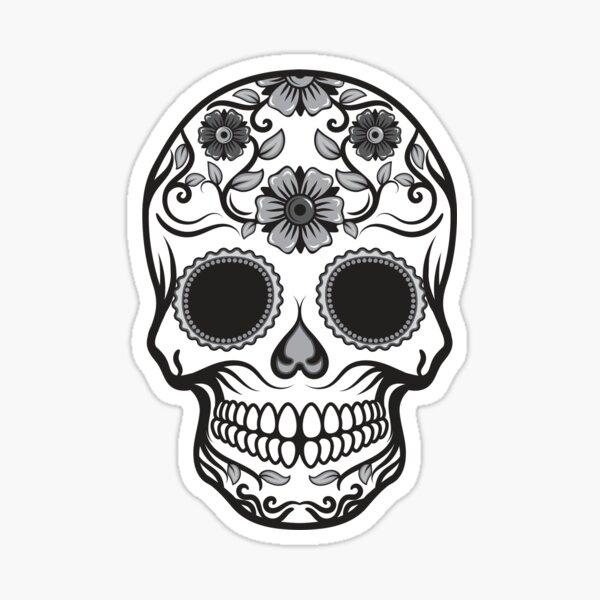 Candy Skull in Black & White Sticker