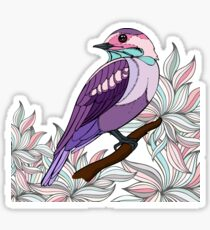 Purple bird vector illustration print Sticker