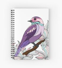 Purple bird vector illustration print Spiral Notebook
