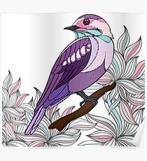 Purple bird vector illustration print Poster
