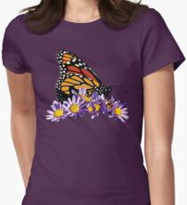 Monarch on Purple Flowers Womens Fitted T-Shirt