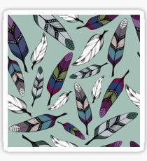Colorful tribal feathers on mint background. Vector illustration print Sticker