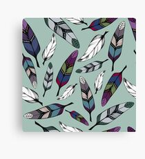 Colorful tribal feathers on mint background. Vector illustration print Canvas Print
