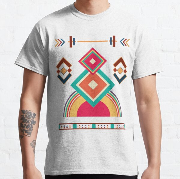 Geometric Colourful Psychedelic Ripple Pattern Classic T-Shirt