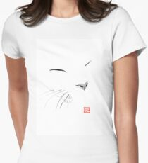 white cat Women's Fitted T-Shirt