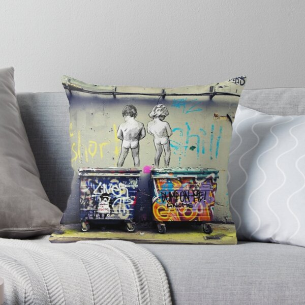 Bansky Chill the Duck Out Throw Pillow