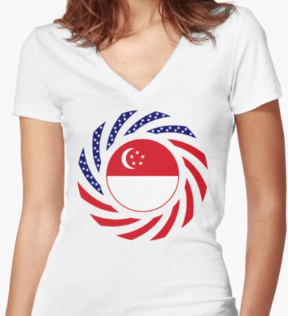 Singapore American Multinational Patriot Flag Series Fitted V-Neck T-Shirt