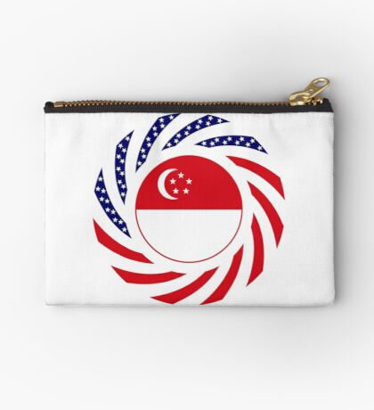 Singapore American Multinational Patriot Flag Series Zipper Pouch