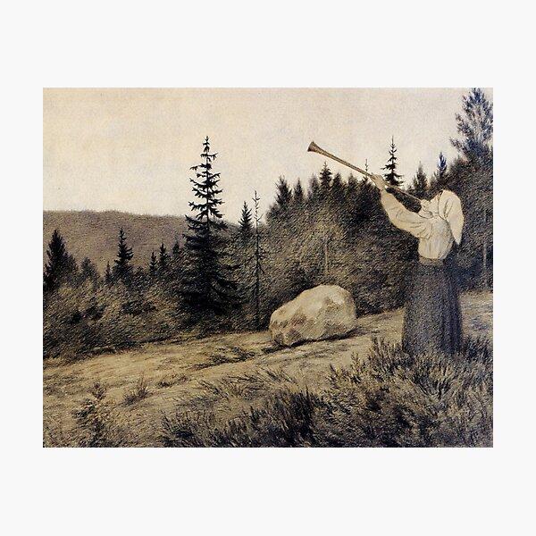 Op under Fjeldet toner en Lur Theodor Kittelsen illustration   Photographic Print
