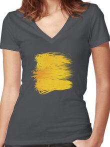 Speckle Gravity Yellow Women's Fitted V-Neck T-Shirt