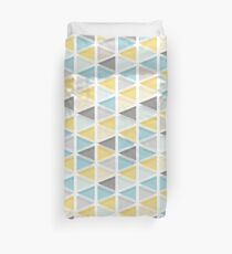 Blue, Mustard and Grey Triangle Pattern Duvet Cover