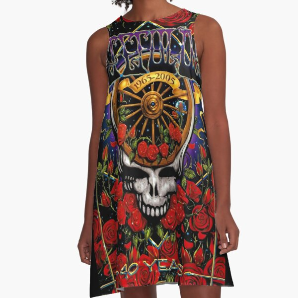 Skull and Rose Flower A-Line Dress