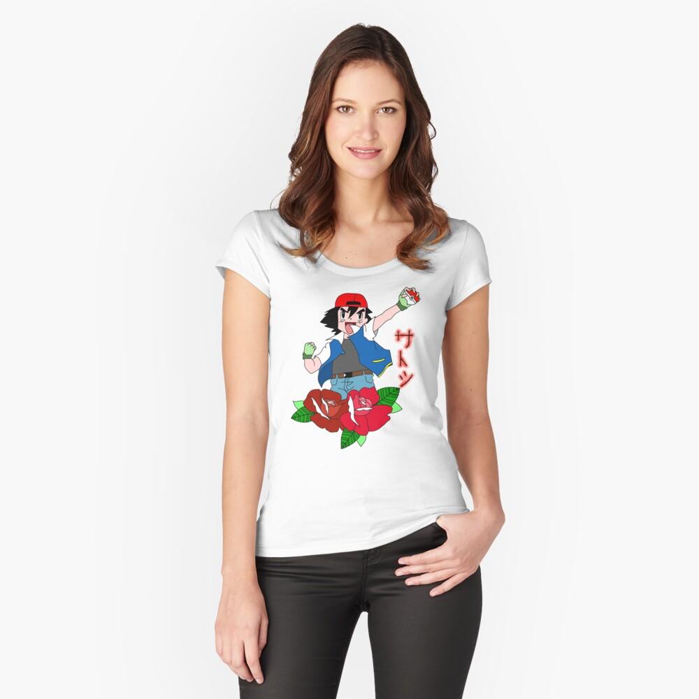 Asche Tailliertes Rundhals-Shirt