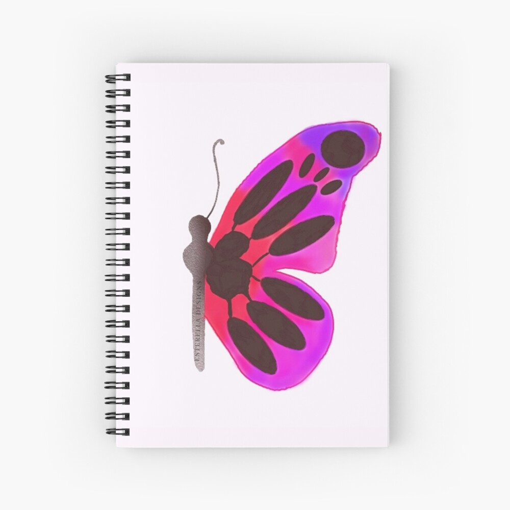 Red and Purple Butterfly  Spiral Notebook