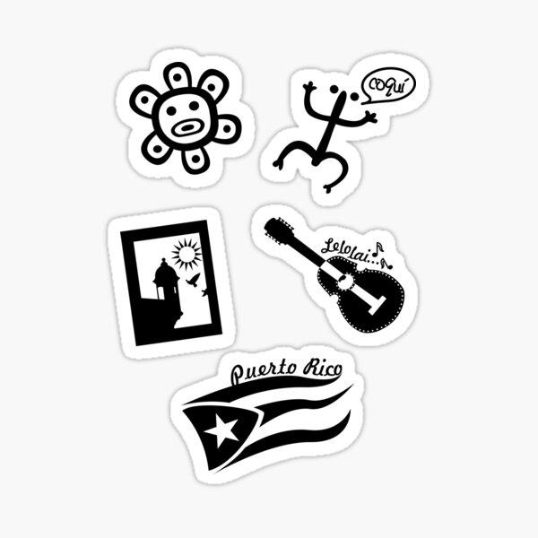 Set of Stickers Puerto Rico Tainos Flag Garita and El Cuatro Black Sticker