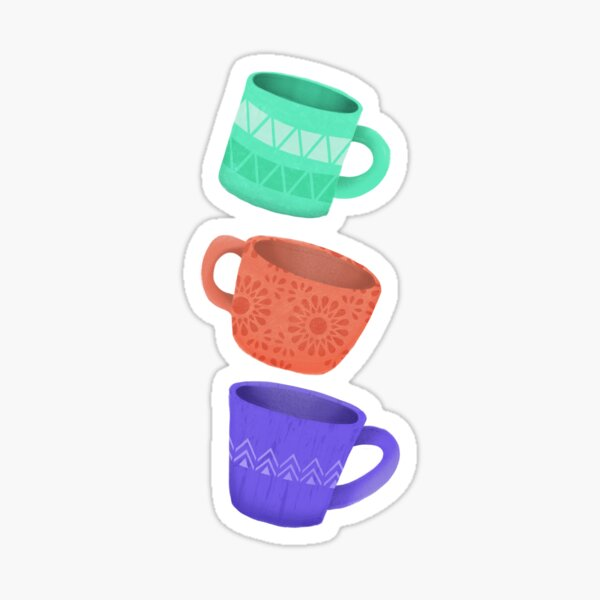 Quirky Coffee Cups Sticker