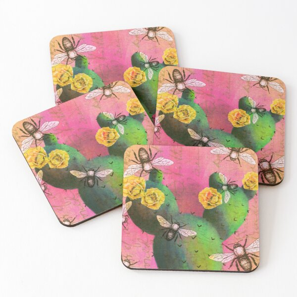Blooming Prickly Pear with Honey Bees Coasters (Set of 4)