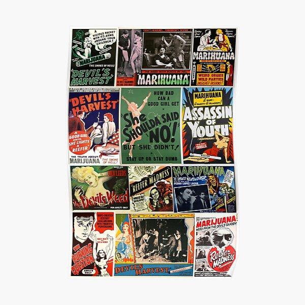 Reefer madness -  Anti Marijuana vintage film posters collage Poster
