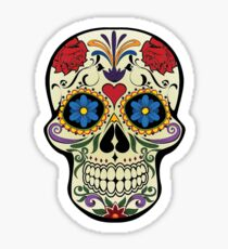 Death, Dead, Floral, Skull, Human, Mardi Gras, Mexico, Day of the Dead, Mexican, Sticker