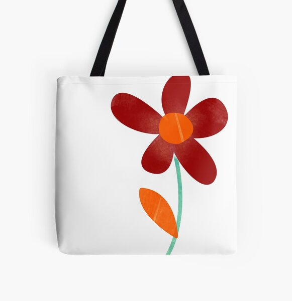 Simple, abstract, artsy graphic burgundy and orange watercolour flower floral sketch - Caroline Laursen Original All Over Print Tote Bag