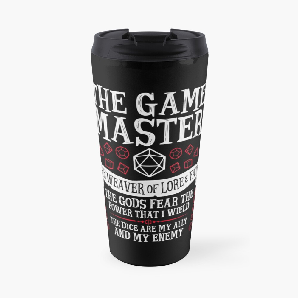 THE GAME MASTER, The Weaver of Lore & Fate - Dungeons & Dragons (White Text) Travel Mug