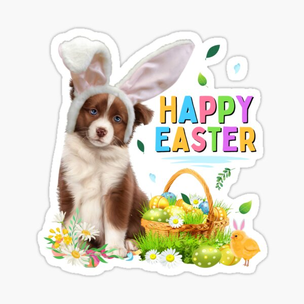 Happy Easter Dog Cute Australian Shepherd Sticker