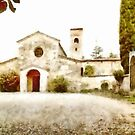 Pieve di Tho: church with trees by Giuseppe Cocco