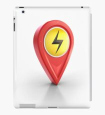 thunder bolt power 3D locator pin map icon iPad Case/Skin