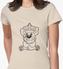 king crown old opa scepter sitting Teddy comic cartoon sweet cute Womens Fitted T-Shirt