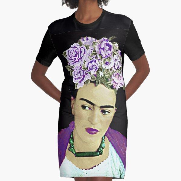 Roses violettes Frida Kahlo Robe t-shirt