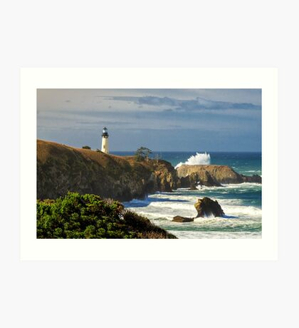 Breaking Waves At Yaquina Head Lighthouse Art Print
