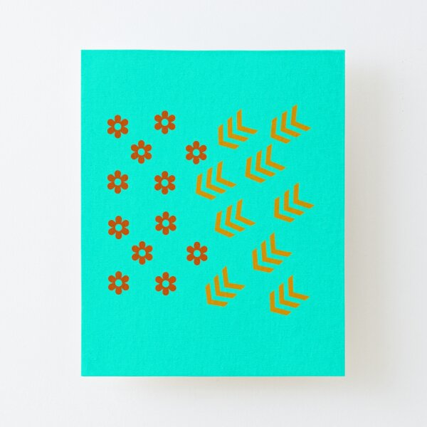 Flowers and stripes Canvas Mounted Print