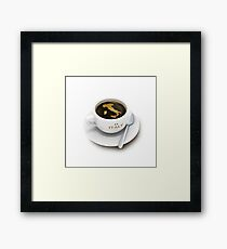 coffee cup with the map of Italy Framed Print