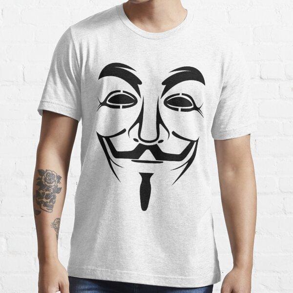 Mens Black Anonymous Hacker CyberPunk T-Shirt Hacktivist Guy Fawks Vendetta